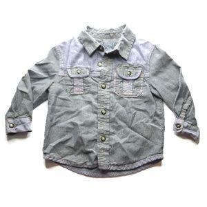 OshKosh Gray Blue Button Up Shirt Top A010781